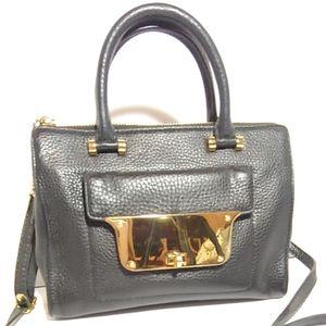 Milly black pebbled leather crossbody mini bag